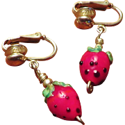 Strawberry Art Glass and Sterling Earrings