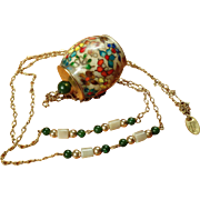 Les Bernard Cloisonne and Jade Necklace
