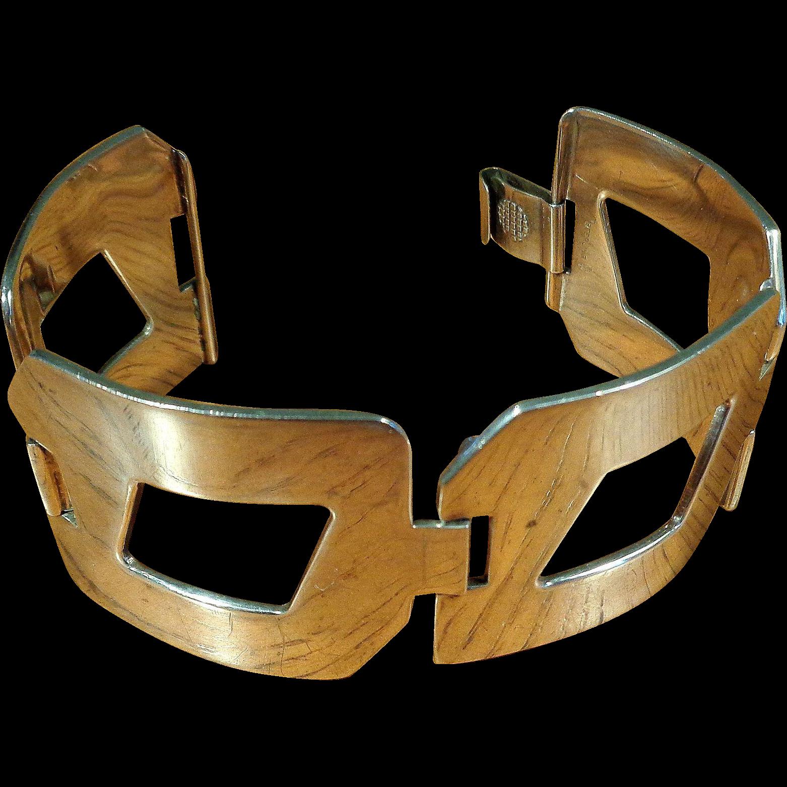 Sterling Modernist Geometric Bracelet