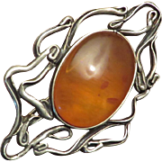 Art Nouveau Amber Sterling Brooch