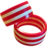 Pair Red and White Striped Lucite Bangles