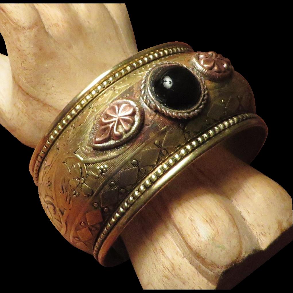 Ethnic Boho Brass Cuff Bracelet