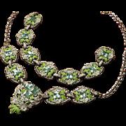 1930's Pot Metal Enamel Rhinestone Necklace Bracelet Set