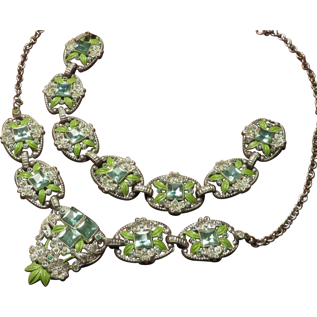 1930's Pot Metal Enamel Rhinestone Necklace Bracelet Set