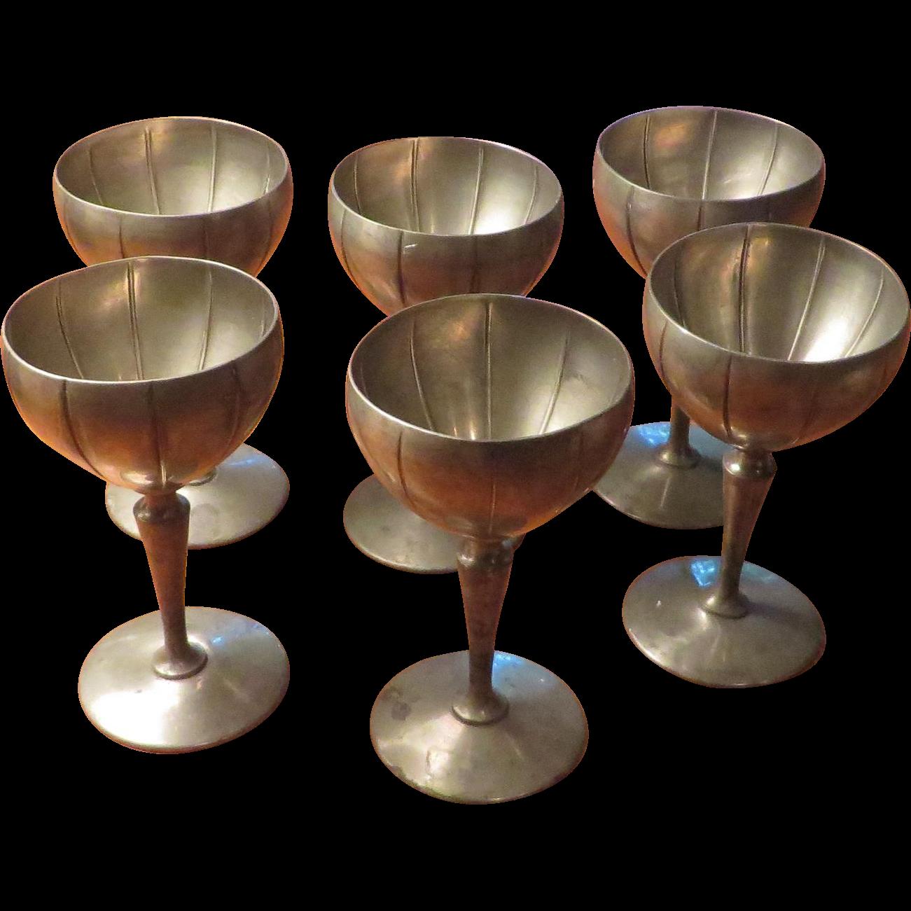 Set of 6 K.S.Co. Pewter Goblets