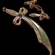 """Sterling Saber Set - 4-1/2"""" Brooch and Earrings"""