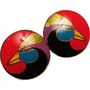 Laurel Burch Pierced Harlequin Bird Earrings