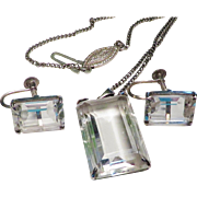 Rare Historical Rock Crystal  and Silver Deutscher Werkbund Jewelry Set
