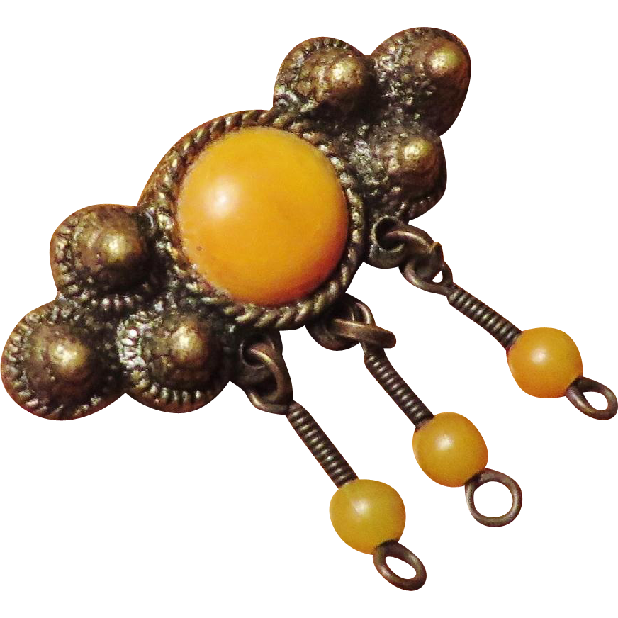 Baltic Amber Brooch - Egg Yolk Color