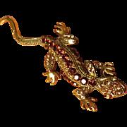 Bright Figural Lizard Salamander Brooch