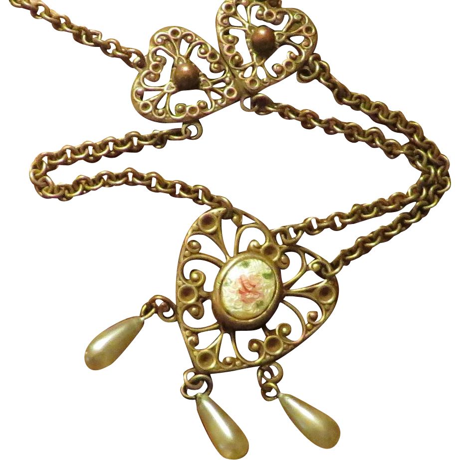 Hearts and Guilloche Long Necklace