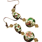 Pierced Vintage Chinese Cloisonne Earrings