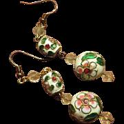 Pierced Vintage Chinese Cloisonne Earrings
