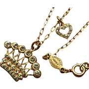Catherine Popesco Crown Necklace with Heart
