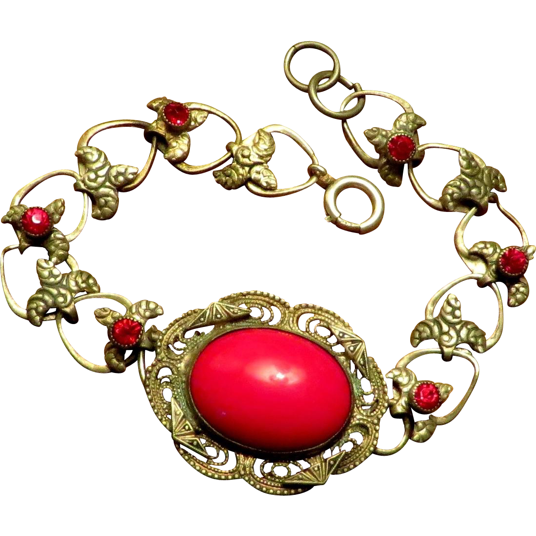 Lovely Bracelet Sterling and Lipstick Red