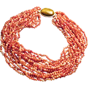 Coral and Tiger eye 15 Strand Torsade Necklace