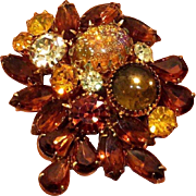 Beautiful Topaz and Amber Colored Rhinestone Confetti Brooch