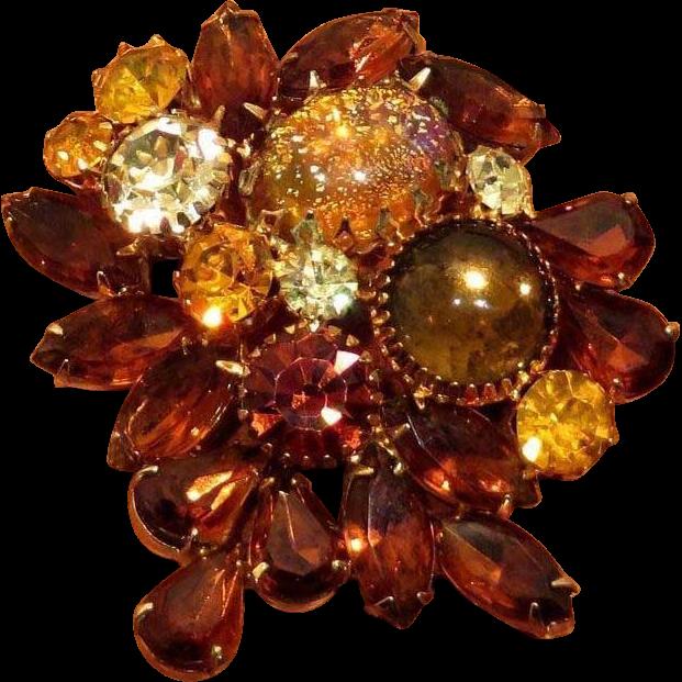 Beautiful Topaz and Amber Colored Rhinestone Confetti Brooch