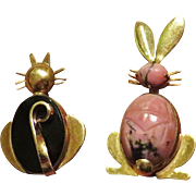 WRE Figural Pair Cat and Rabbit Brooches