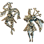 Pair Walter Lampl Sterling Bagpiper and Dancer Brooches