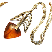 Baltic Amber Sterling Filigree Necklace