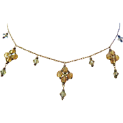Lovely Sterling  Necklace Topaz Wired Crystals