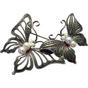 Silver Pearls Figural Butterfly Brooch