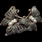 Silver Pearls Figural Butterfly Brooch