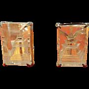 Japanese Rock Crystal Sterling Pagoda Earrings