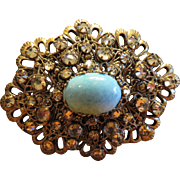 Gorgeous Robin Egg Filigree Brooch