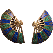 Sterling Enamel Siam Blue and Green Earrings