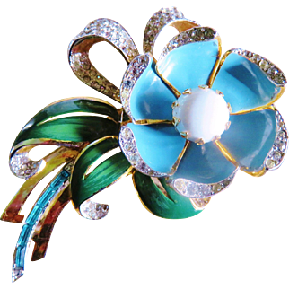 Enamel Articulated Day Night Brooch