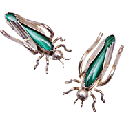 Pr. Sterling Malachite Figural Grasshopper Brooches