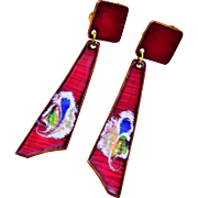 Ruby Red Enamel Dangling Earrings