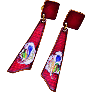 Ruby Red Enamel Dangling Earrings