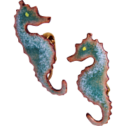 Figural Seahorse Enamel Earrings