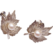 MIKIMOTO Sterling and Cultured Pearl Vintage Earrings