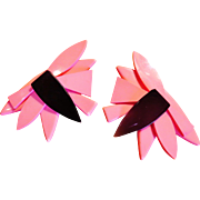 Scherrer Enormous Pink Lucite Earrings