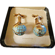 Vintage Globe on Axis Enamel Cufflinks