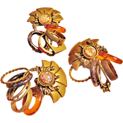 Unusual Brooch and Earrings Set