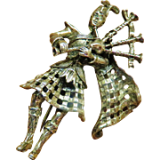 Walter Lampl Sterling Figural Bagpiper Brooch
