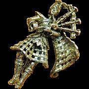 Walter Lampl Sterling Figural Bagpiper Brooch