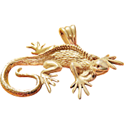 Sterling Gecko Figural Finely Detailed Pendant and Necklace