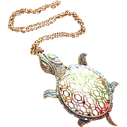 Vintage Articulated Turtle Figural Long Necklace