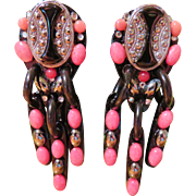 Bill Schiffer Dangling Black and Pink Earrings - Boho 1994