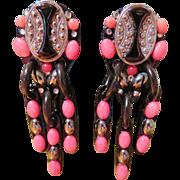 Bill Schiffer Dangling Black and Pink Earrings - Boho 1994