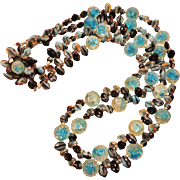 Beautiful Blue Givre Raspberry Beads Double Strand Necklace - Pre WWII