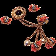 Rare Adele Simpson SET - Chatelaine Swag Brooch & Earrings