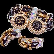 Gorgeous Hobe Set Bracelet and Earrings - pre 1955