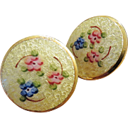 Vintage Yellow Guilloche Enamel Earrings